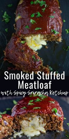 This Smoked Stuffed Meatloaf is pure indulgence! The tender meat is jam packed with flavor, then stuffed with creamy mozzarella cheese, and smoked on the grill, and finally finished with a spicy Sriracha ketchup Grilled Meatloaf, Cheese Stuffed Meatloaf, Bbq Meatloaf, Stuffed Meatloaf Recipes, Smoker Recipes, Grilling Recipes, Meat Recipes, Cooking Recipes, Dinner Recipes