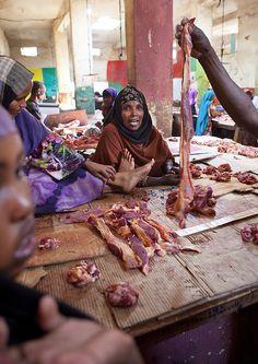 Meat (feet) Vendor At Hargeisa Market, Somaliland