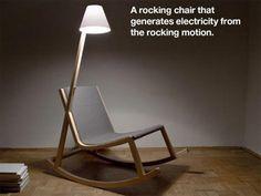 ライト一体の自家発電型ロッキングチェア「murakami chair」