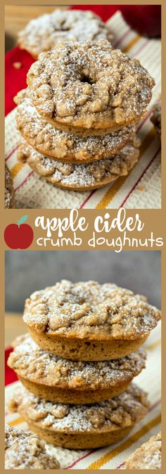 Apple Cider Crumb Doughnuts – Spiced doughnuts with a little apple flavor from fresh apple cider and topped with cinnamon crumbs to make for the best baked doughnut you've ever had! #donut #applecider #baked #breakfast #brunch