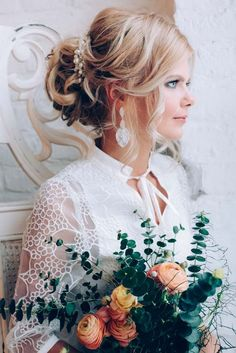 long wavy wedding updo hairstyle with wedding makeup 3 via aleksandra prudnikov