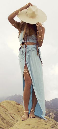 #street #fashion boho light blue wrap skirt crop top floppy hat gold bracelets thigh jewelry
