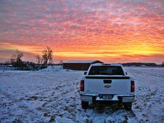 Winter sunset over my 2008 pickup, 2011