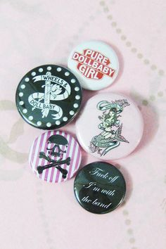 Wheels and Dollbaby Badge Set from Just a Touch of Everything Alternative Fashion, Bag Accessories, Badge, Birthdays, Wheels, Touch, Style Inspiration, Pure Products, Archive