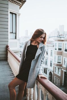 Gray coat over littl