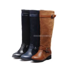 Womens Ladies Comfort Low Heels Shoes Belt Buckle Knee High Boots US Size 3-10.5 #unbrand #FashionKneeHigh