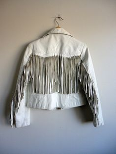 80s Fringe White Leather Biker Jacket by Perino Ponti - Cropped Multi Zipper - Hair Metal Long Fringe Trashy Jacket on Etsy, $101.44