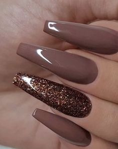 77 Trendy Brown Nail Art Designs and Ideas - Nail Polish Brown Nail Art, Brown Nail Polish, Nail Polish Colors, Pink Polish, Gorgeous Nails, Pretty Nails, Amazing Nails, Uñas Color Cafe, Best Acrylic Nails