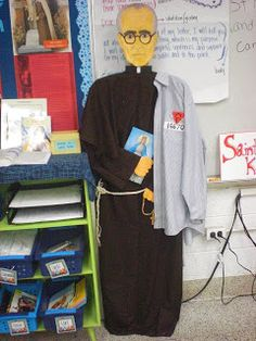 Make a full sized Saint with clothes to stand up in your classroom. Perfect for the patron Saint of your class or year!