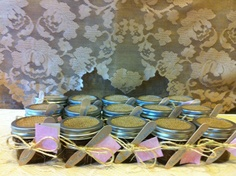 BURLAP SHOWER Favors/Gifts. Rustic Chic Organic Sugar Scrubs in 4 oz Glass Mason Jars : Set of  10. Available via Etsy.