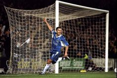 4 March Chelsea captain DENNIS WISE celebrates after scoring against Valerenga in the European Cup Winners Cup quarter-final first leg match at Stamford Bridge. Chelsea Football Team, Chelsea Players, Dennis Wise, Fc 1, European Cup, Stamford Bridge, Europa League, Fa Cup, Uefa Champions League