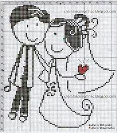 Cross Stitch Needles, Cross Stitch Heart, Wedding Cross Stitch Patterns, Cross Stitch Designs, Cross Stitching, Cross Stitch Embroidery, Crochet Wedding, Tapestry Crochet, Crochet Chart