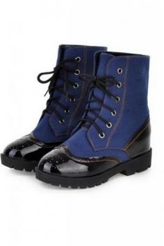 Shoes :: Boots :: Denim Jeans Blue Punk Rock Funky Lace-Up Military Boots