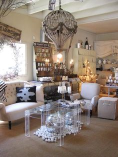 Chateau Sonoma Antiques in Sonoma, California - The French balloon chandelier is so cool!