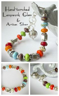 Whimsical multicolor Lampwork glass bracelet with lots of sterling silver accents in an adjustable length.