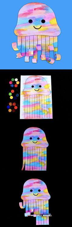 Bastelideen Art Elementary School - Watercolor Jellyfish - Make Film Play