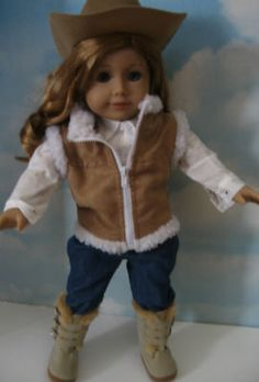 Western Outfit for American Girl Dollsoutfit comes with Brown Cow Girl Hat, Seude Cest, Jeans , White shirt and Boots.   eBay