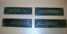 4 St Alte Briefschlitze Briefkastenabdeckungen aus Eisen zum aufarbeiten ab 1EUR