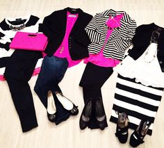 Black, White, and Pink outfit ideas. Black and white stripes. Kate Spade Inspired Outfits.