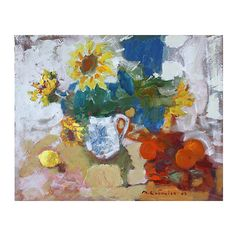Pre-Owned Still Life w/ Sunflowers & Oranges (12,160 CNY) ❤ liked on Polyvore featuring home, home decor, wall art, multi, sunflower wall art, canvas wall art, sunflower paintings, canvas oil painting and unframed wall art