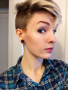 Half shaved pixie cut