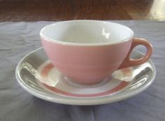 Vintage Shenango China Restaurant Ware Pink Grey Band Cup and Saucer Set | eBay