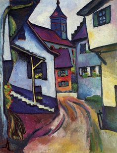 August Macke - This Expressionist painting features a church overlooking a dusty street. The framed art print will provide any room with a stylish touch. Artist: August Macke Title: Street with a Church Product type August Macke, Wassily Kandinsky, Framed Art Prints, Painting Prints, Painting & Drawing, Paintings, Cavalier Bleu, Maurice De Vlaminck, Art Encadrée