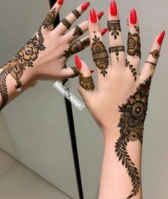 by Art Design Doha Indian Henna Designs, Finger Henna Designs, Simple Arabic Mehndi Designs, Henna Art Designs, Mehndi Designs For Girls, Mehndi Designs For Beginners, Modern Mehndi Designs, Wedding Mehndi Designs, Mehndi Designs For Fingers