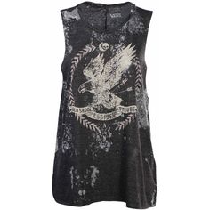 Vans Women's Eagle Skull Muscle Sleeveless T-Shirt-Dark gray ($20) ❤ liked on Polyvore featuring tops, shirts, tank tops, t-shirts, tanks, eagles shirt, vans shirt, dark gray shirt, vans tank tops and sleeveless tee shirts