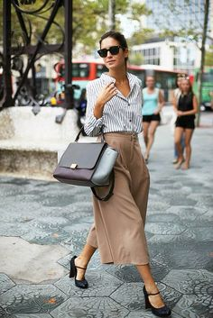 I'm moving to Florida. I could definitely get away with this more breezy work style. Love the shoes. pinstripe shirt + midi skirt + celine trapeze
