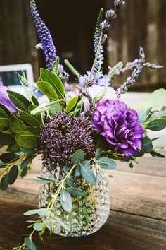Pretty purple flowers: http://www.stylemepretty.com/california-weddings/petaluma/2015/09/11/rustic-chic-ranch-wedding-3/ | Photography: Melissa Fuller - http://www.melissafullerphotography.com/
