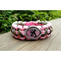 Custom Handmade Paracord Bracelet with a Browning Pink Camo Buck Image Charm FREE Continental US SHIPPING found on Polyvore