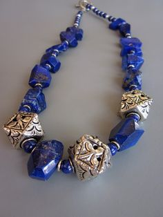Lapis Sky necklace chunky Lapis and Sterling Silver
