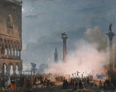 Ippolito Caffi. Players in San Marco's Piazza, 1700s, I'd guess!