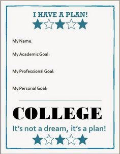 I Have A Plan Worksheet for Early College Awareness lesson.