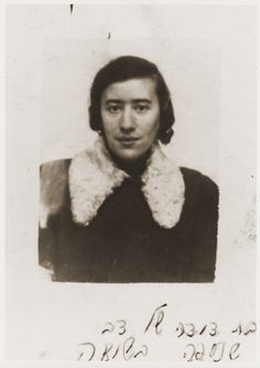 ID photo of Rachel Sheinberg taken in the Nowy Sacz ghetto.  Rachel Sheinberg was an aunt of Berel Silbiger, who perished in the Holocaust.