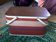 Redman basket in red blue in cream plastic by MadModWorldVintage