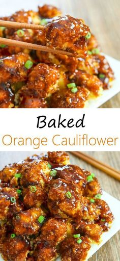 Baked Orange Cauliflower - an unusually tender, baked dish suitable for a family dinner. As a result, Cauliflower is crispy on the outside and soft inside! High Protein Vegetarian Recipes, Vegetarian Recipes Dinner, Veggie Recipes, Cooking Recipes, Healthy Recipes, Healthy Pizza, Simple Vegetarian Meals, Healthy Dinner Recipes, Beef Recipes