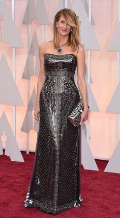 Laura Dern at the 87th Annual Academy Awards, 2015. Laura is wearing Alberta Ferretti & Bvlgari jewels.