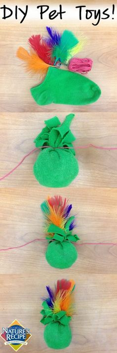 Your cat won't be able to resist this DIY toy made out of a sock! ~~~~This one was super easy......I just made 2 for my 2 kitties and they both are lovin' them right now super easy project no time at all !!! ~LESLIE~