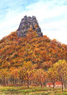 Minimax.cz - umělecký server pro všechny autory - VRABINEC V ČESKÉM STŘEDOHOŘÍ Watercolor Landscape, Monument Valley, Rocks, Pastel, Trees, Paintings, Drawings, Nature, Plants