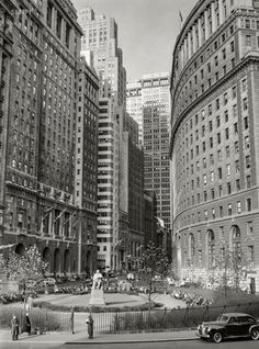 """December """"Buildings on Lower Broadway, New York."""" The park is Bowling Green, whose focal point was a statue of Abraham de Peyster, mayor of the city. New York Pictures, New York Photos, Old Pictures, New York Architecture, Amazing Architecture, Lower Manhattan, City Hall Nyc, Amsterdam, Brooklyn Nyc"""