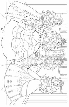 Free Barbie 12 Dancing Princesses Coloring Pages, Download Free ... | 365x236