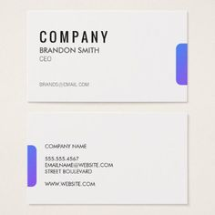 Simple Black / (Purple Gradient Tab) Business Card - minimalist office gifts personalize office cyo custom