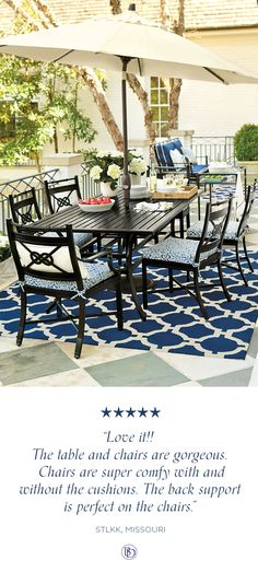Our Newport Dining Set has a super chic knot detail on the back, sturdy aluminum frame, and weather resistant finish which makes it the perfect option for your patio, pool deck, or porch!