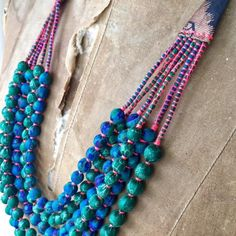 Silk Beads - 6 Strand - Teal and Green