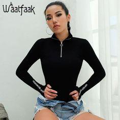 f7f23539d2b4 Waatfaak Black Long Sleeve Bodysuit Women Front Zipper Bodysuit Patchwork  Letter Printed Turtleneck Casual Bodycon Jumpsuit