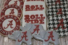 Alabama Crimson Tide Logo Decorated Sugar Cookies - Sports Theme / Graduation / Birthday Party
