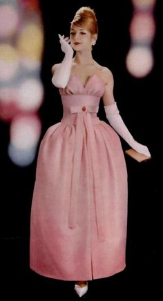 Jean Patou 1960s formal gown evening dress pink petal puff full skirt bow strapless
