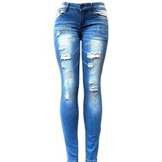 Jeans for Love Women's Skinny Ripped Jeans ($18) ❤ liked on Polyvore featuring jeans, destructed jeans, super skinny jeans, destroyed jeans, torn jeans and wide-leg jeans